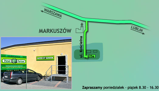Mapa dojazdu Diesel Partner